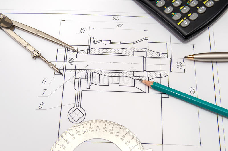 Abstract engineering drawings stock images