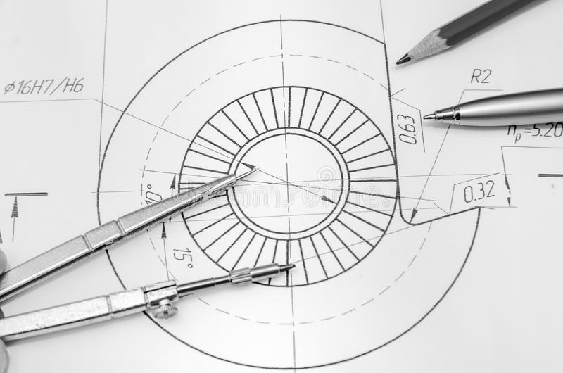 Abstract engineering drawings royalty free stock photo