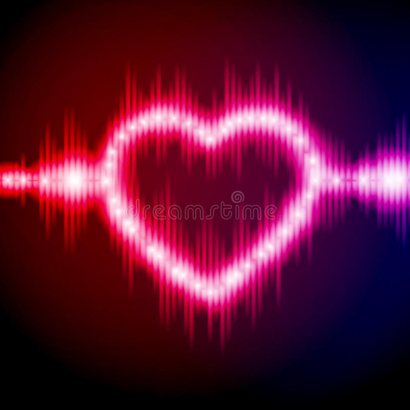 Abstract equalizer background with heart stock illustration