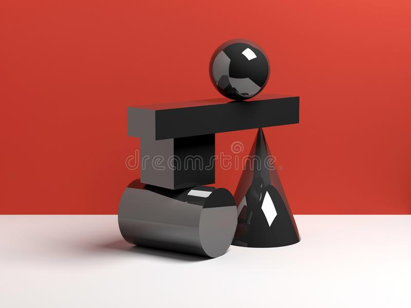 Abstract equilibrium concept, black shapes vector illustration