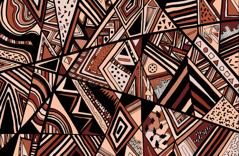 Abstract ethnic background is from different geometric shapes. Vector royalty free illustration