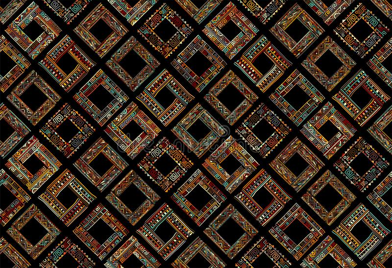 Abstract ethnic frames, seamless pattern for your design stock photos