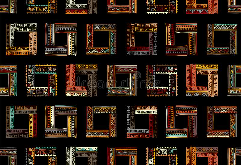 Abstract ethnic frames, seamless pattern for your design royalty free stock photography