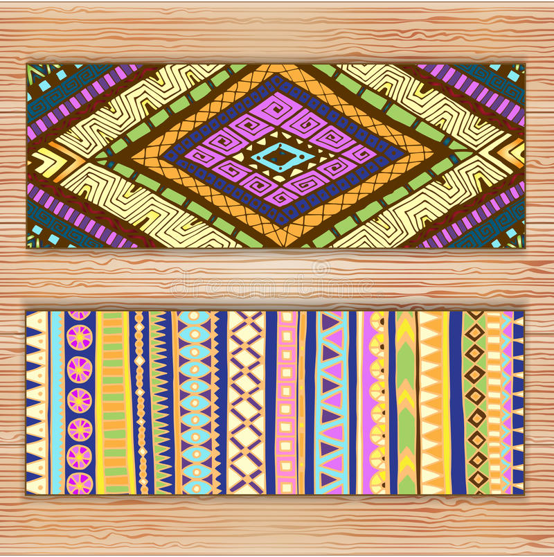 Abstract Ethnic Pattern Cards On Wood Background. royalty free stock photo