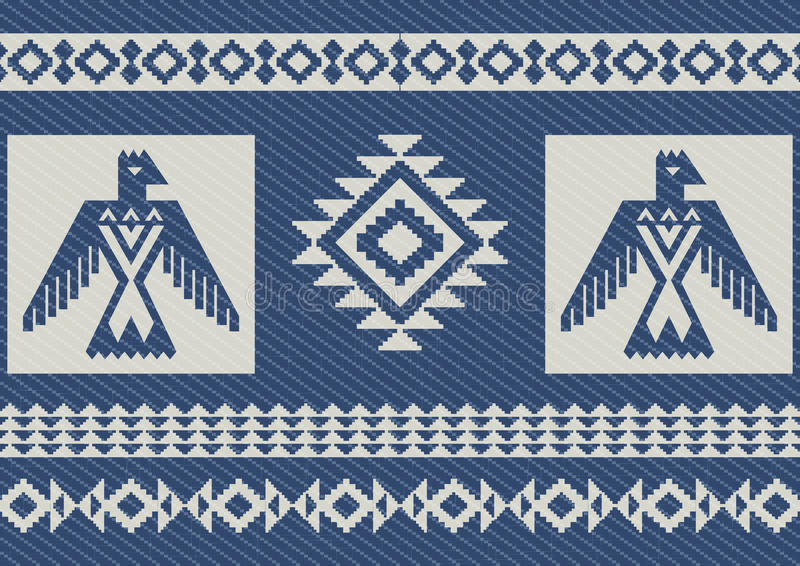 Abstract ethnic pattern with eagles denim background royalty free illustration