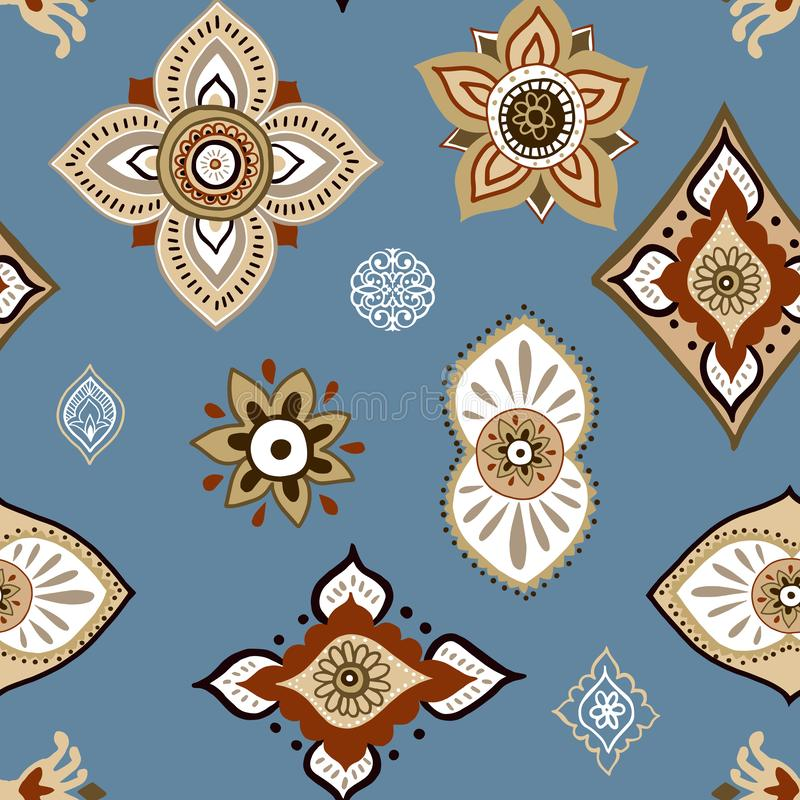 Abstract ethnic seamless pattern. Traditional background. Boho style. Paisley print hand drawn elements. stock illustration