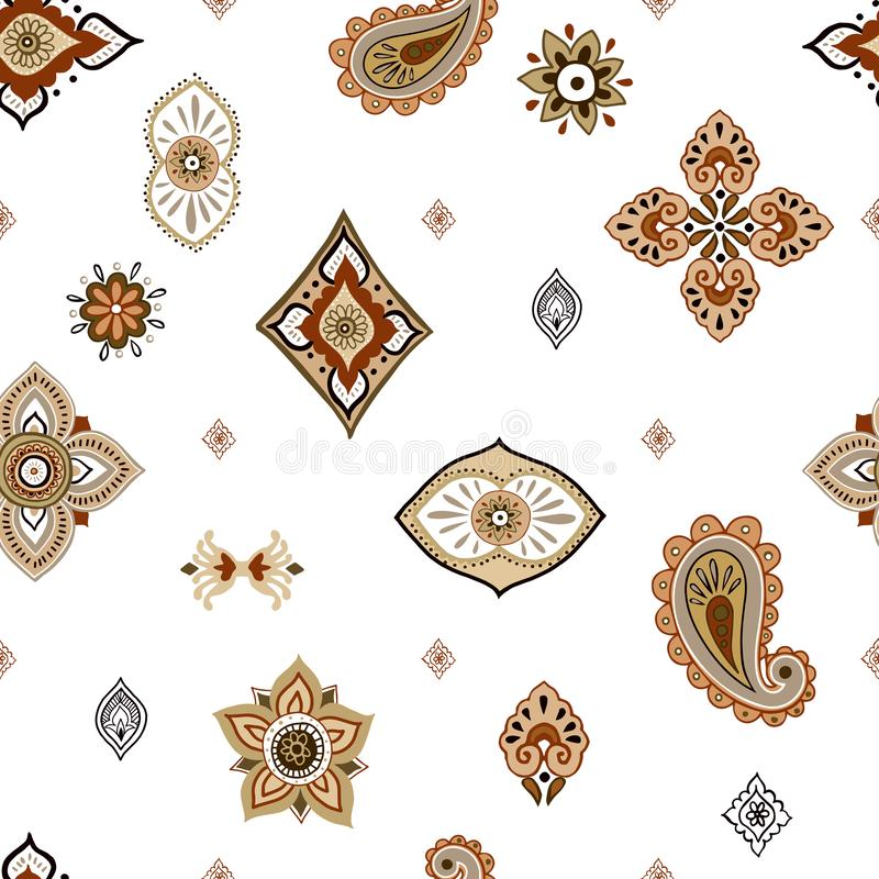Abstract ethnic seamless pattern. Traditional background. Boho style. Paisley print hand drawn elements. royalty free illustration