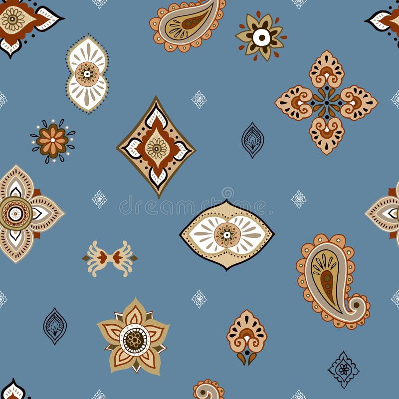 Abstract ethnic seamless pattern. Traditional background. Boho style. Paisley print hand drawn elements. vector illustration