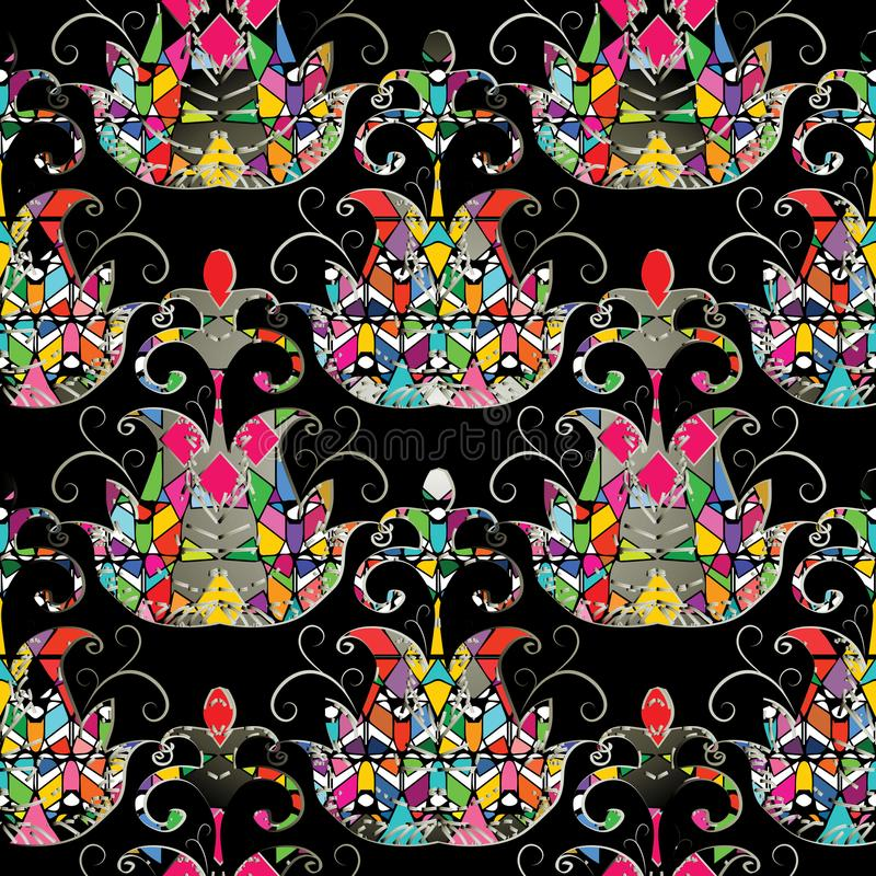 Abstract ethnic style geometric seamless pattern. Vector ornamental tribe background with geometrical colorful flowers, shapes, e stock illustration