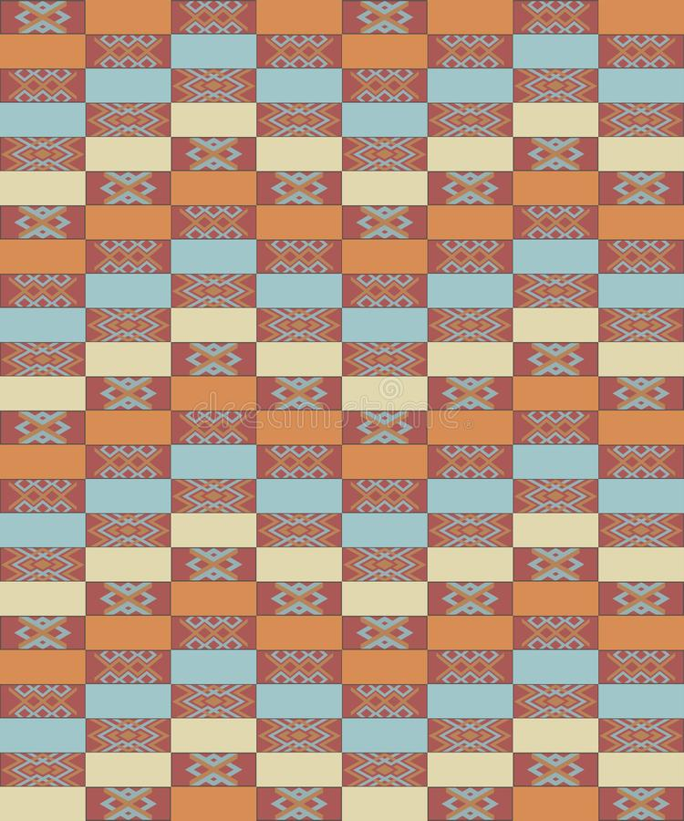 Abstract etnisch geometrisch patroon, stammentapijt, naadloze vectorillustratie stock illustratie