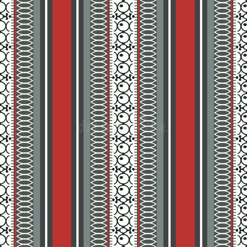 Abstract etnisch naadloos patroon, vectorillustratie, sierachtergrond Overladen verticale tracery in rood, grijs, zwart en whit royalty-vrije illustratie