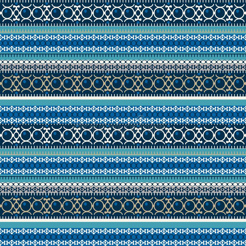 Abstract etnisch naadloos patroon, vectorillustratie, uitstekende sierachtergrond Overladen horizontale veelkleurige kleurrijke t vector illustratie