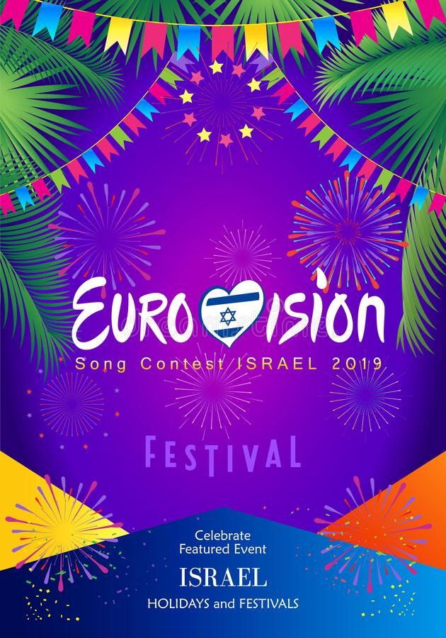 2019 Abstract Eurovision Song Contest International Music festival fireworks Israel. 2019 Abstract Eurovision Song Contest International Music festival fireworks royalty free illustration