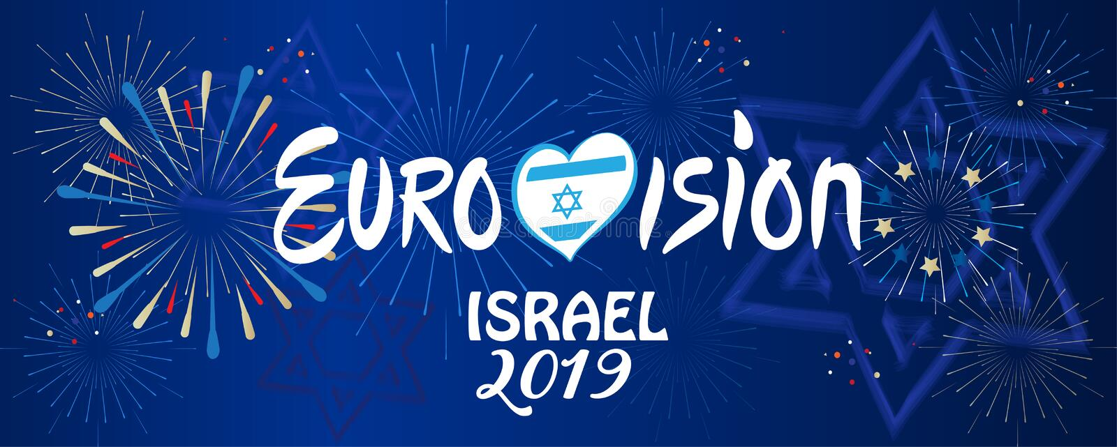 2019 Abstract Eurovision Song Contest International Music festival fireworks Israel. 2019 Abstract Eurovision Song Contest International Music festival fireworks vector illustration