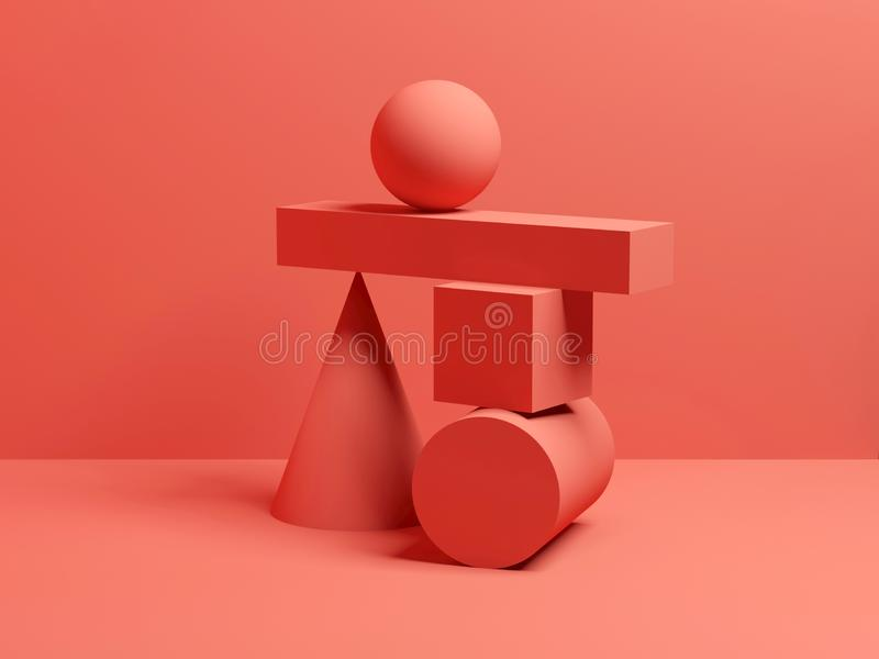 Abstract evenwichts rood digitaal stilleven 3 D royalty-vrije stock afbeelding