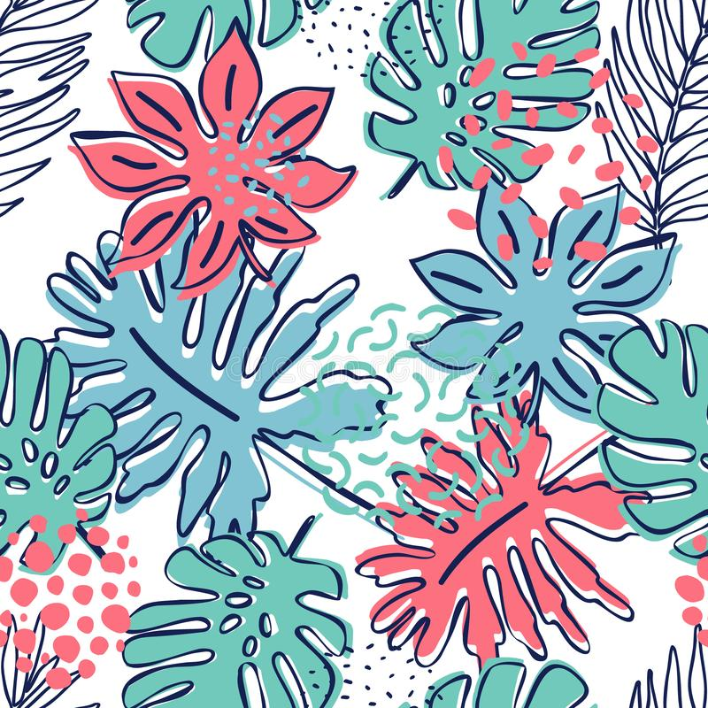 Abstract exotic leaves seamless pattern royalty free illustration