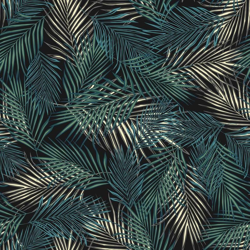 Abstract exotic plant seamless pattern. Tropical palm leaves pattern, vector botanical background. Fern leaf wallpaper. Abstract exotic plant seamless pattern vector illustration