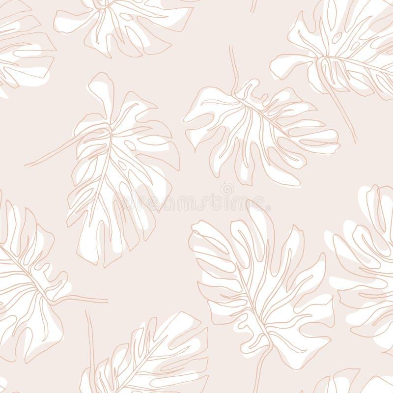 Abstract exotisch bladeren naadloos patroon Hand getrokken tropische de zomerachtergrond: Philodendronmonstera, palmbladcontouren stock illustratie