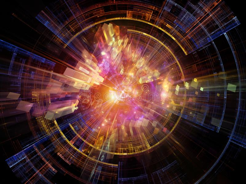Abstract Expansion. Explosive Technology. Bright math-generated abstract radial elements to illustrate concept of rapid expansion on the subject of science stock illustration