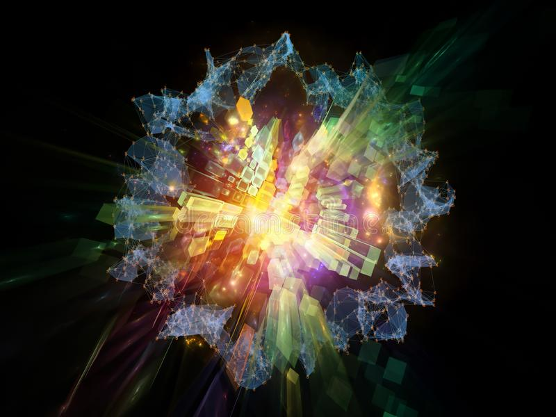 Abstract Expansion. Explosive Technology. Bright math-generated abstract radial elements to illustrate concept of rapid expansion on the subject of science royalty free illustration