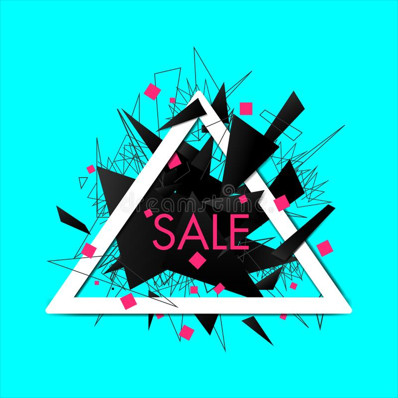 Abstract explosion sale banner with triangular frame stock illustration