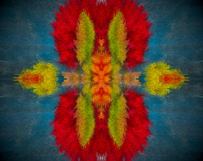 Abstract extruded mandala with red, orange, blue and green color stock illustration