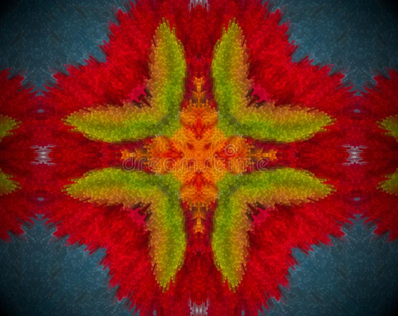 Abstract extruded mandala with red, orange, blue and green color royalty free illustration