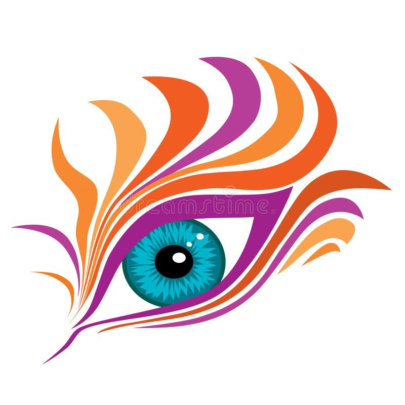 Abstract eye with colorful fake eyelashes vector illustration