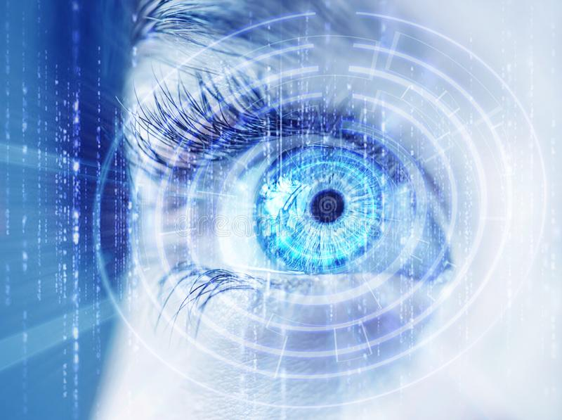 Abstract eye with digital circle. Futuristic vision science and identification concept. stock photos