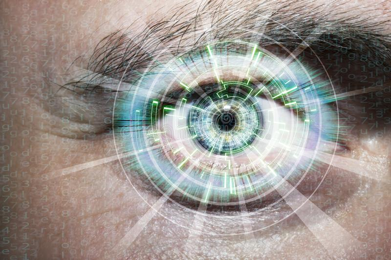 Abstract eye with digital circle. Futuristic vision science and identification concept. royalty free stock photography