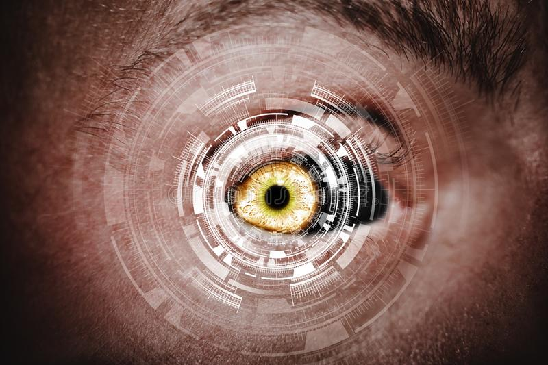 Abstract eye with digital circle. Futuristic vision science and identification concept stock images
