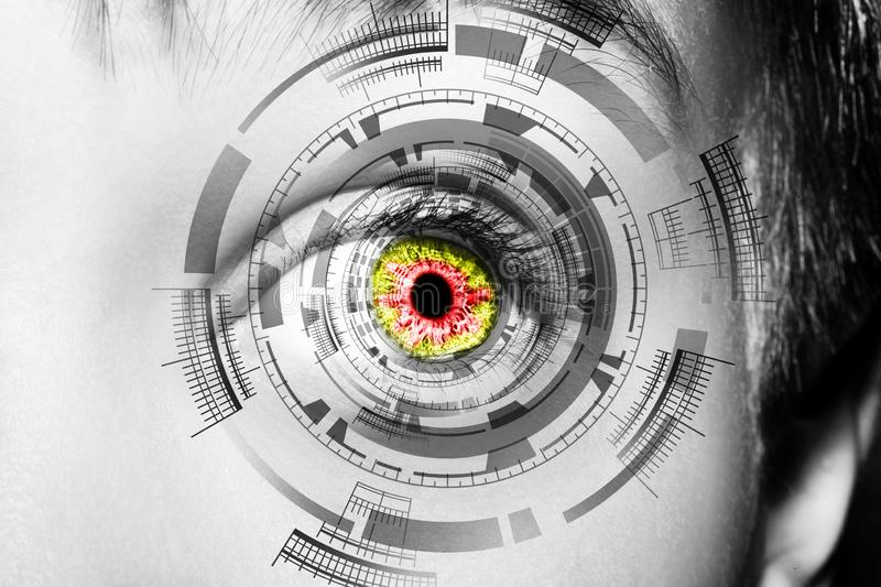 Abstract eye with digital circle. Futuristic vision science and identification concept stock photography