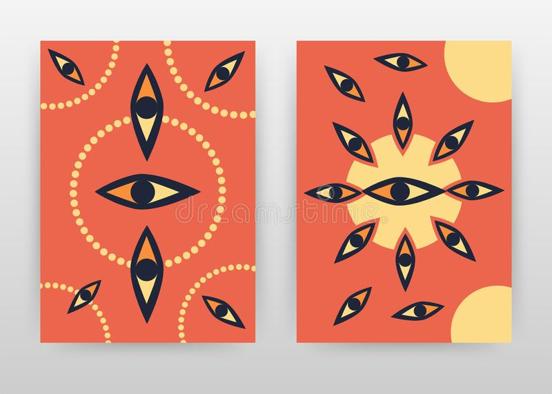 Abstract eye and dotted red yellow texture design for annual report, brochure, flyer, poster. Red background vector illustration. For flyer, leaflet, poster stock illustration