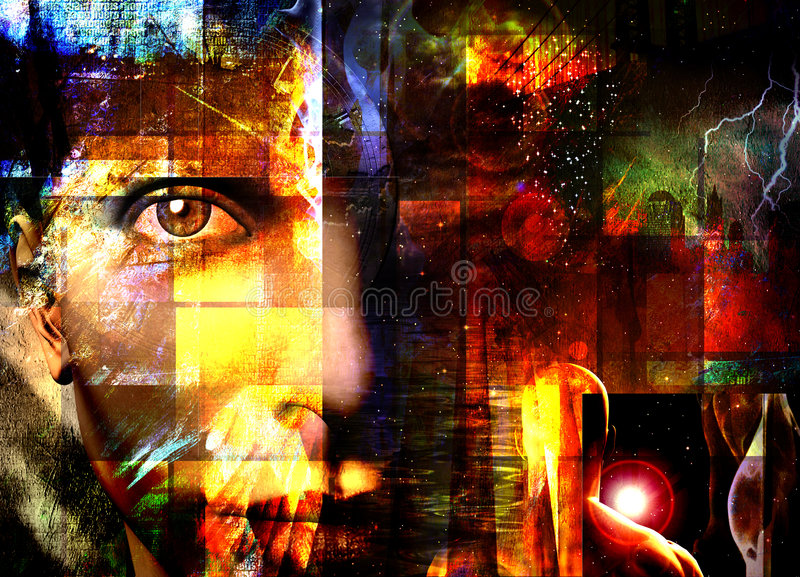 Abstract with face stock illustration