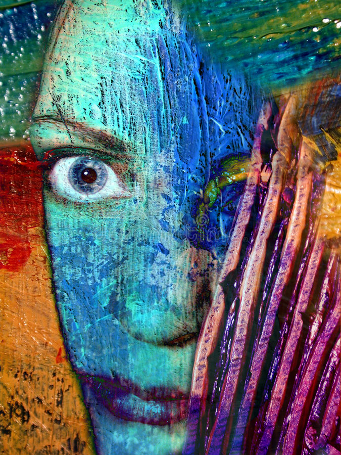 Abstract Face Artist Portrait. The mad artist, a representation of an artist's identity. A real face is blended within real oil paint on canvas showing the