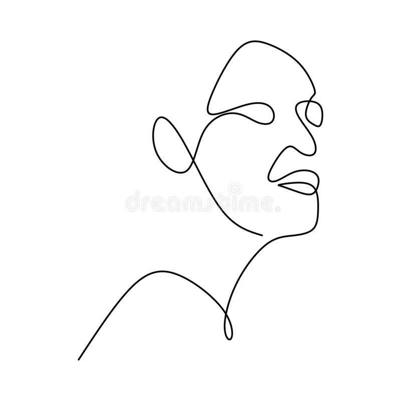 Abstract face continuous one line drawing vector illustration minimalism style on white background. Good for poster art and. Wallpaper contouring symbol black vector illustration