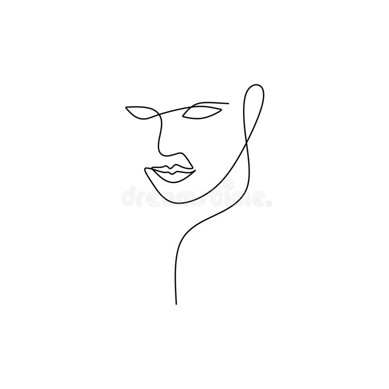 Abstract face continuous one line drawing vector illustration minimalism style on white background. Good for poster art and. Wallpaper contouring symbol black stock illustration