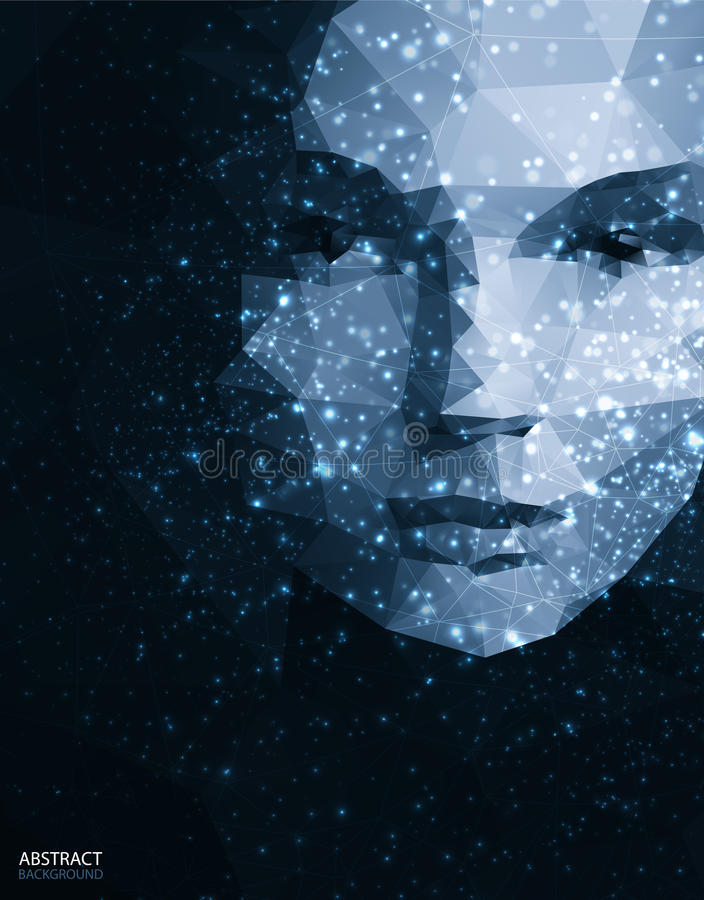 Abstract face for grunge background stock illustration