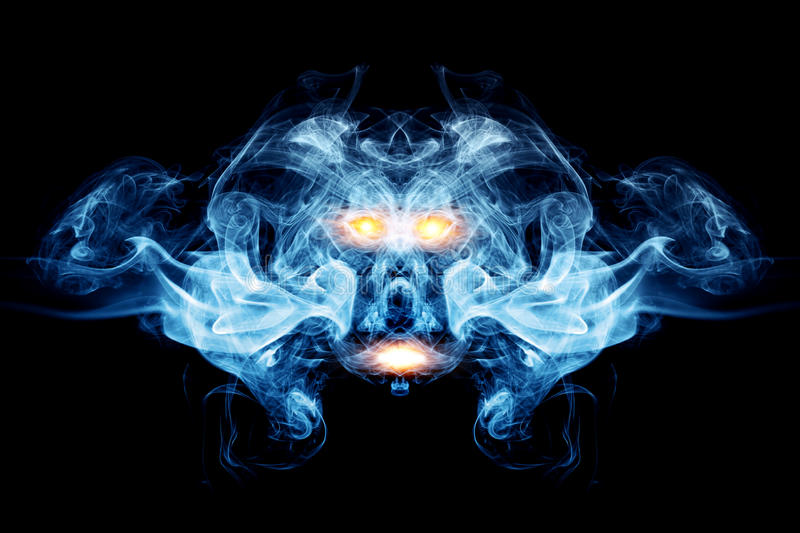 Abstract face made of smoke, flames royalty free illustration