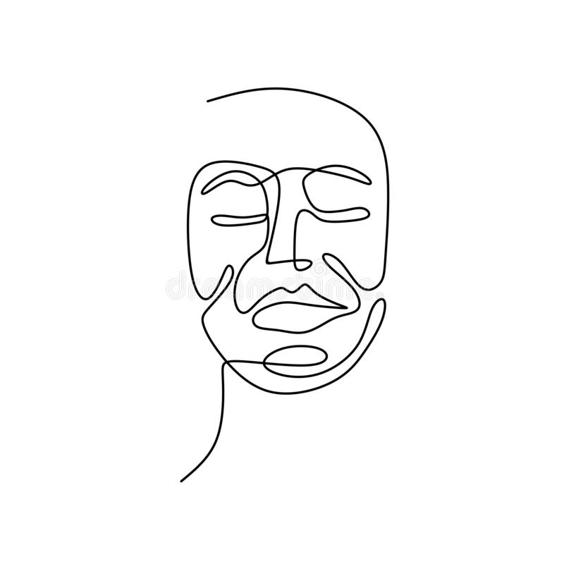 Abstract face one line drawing. Portrait minimalistic style. Art, design, illustration, symbol, continuous, vector, graphic, sketch, female, icon, woman royalty free illustration