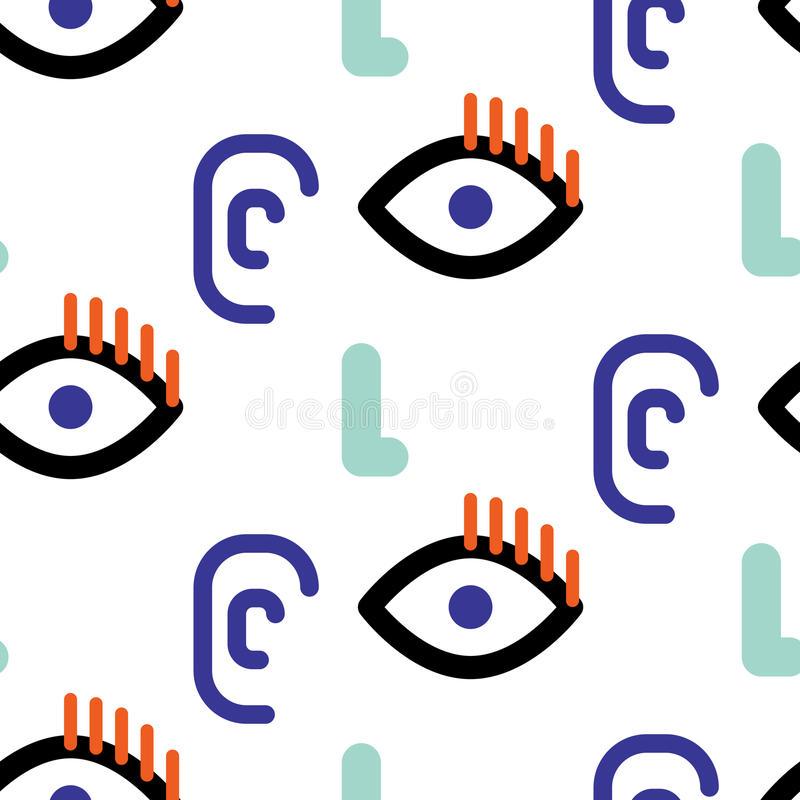 Abstract faces hipster vector seamless pattern. stock illustration