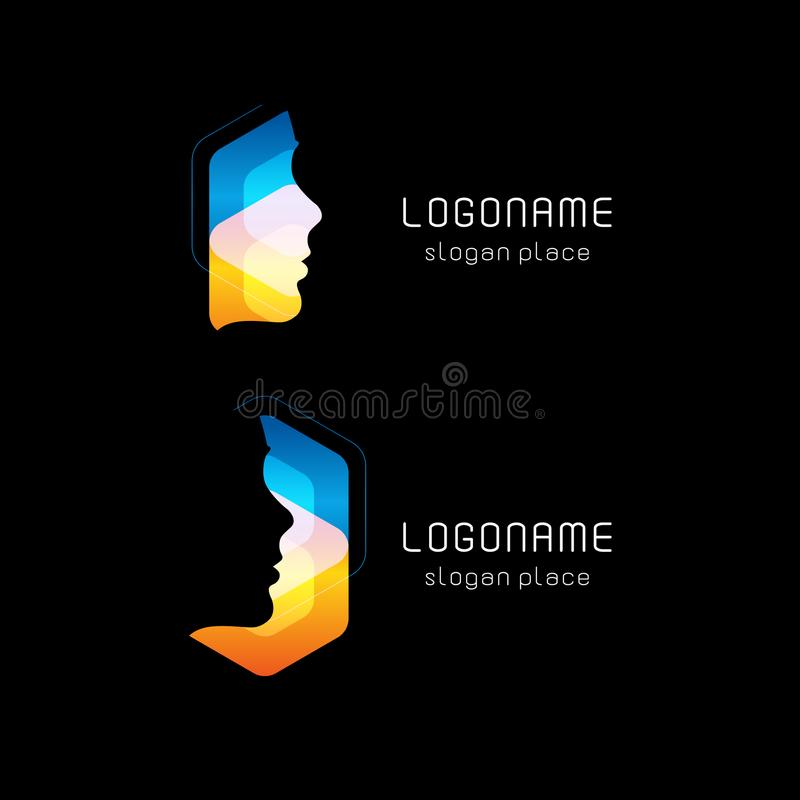 Abstract facial mask, vector logo. Hacker face hacking Internet database. Personal computer protection against hacking. New technology. Anonymous symbol vector illustration