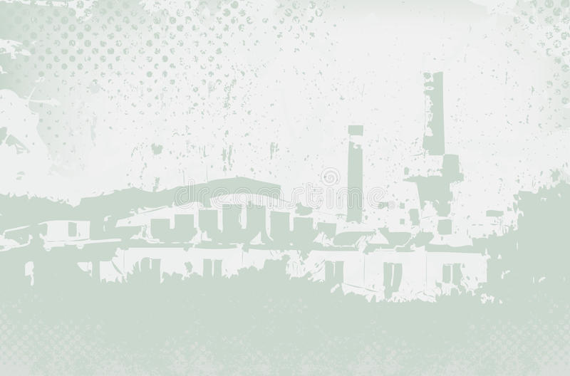 Abstract factory and grunge scratched background. Illustration