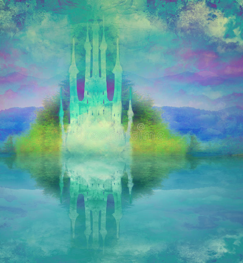 Abstract fairytalekasteel stock illustratie