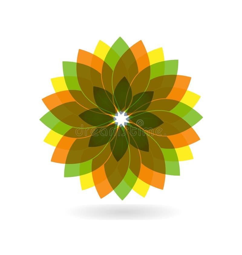 Abstract fall flower, natural vector logo stock illustration