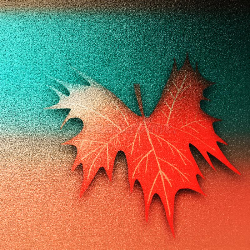 Abstract Fall leaf embossed on textured surface. Hand drawn autumn textured modern artwork. grungy surface texture background. stock photography