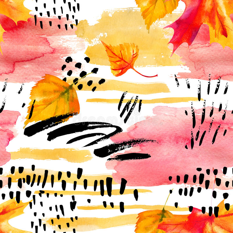 Abstract fall seamless pattern in bright autumn colors. Watercolor painting of falling leaves, ink doodle, watercolour, grunge textures. Floral background for royalty free illustration