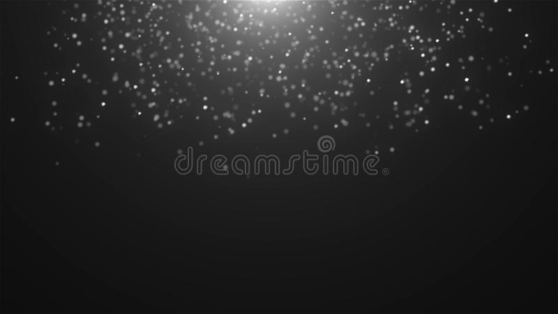 Abstract falling atmospheric snow in space, computer generated abstract background, 3D render. Ing royalty free illustration