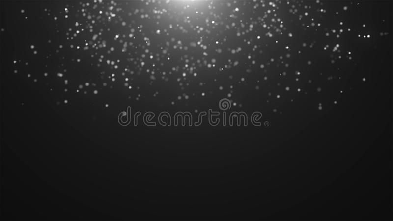 Abstract falling atmospheric snow in space, computer generated abstract background, 3D render. Ing stock illustration