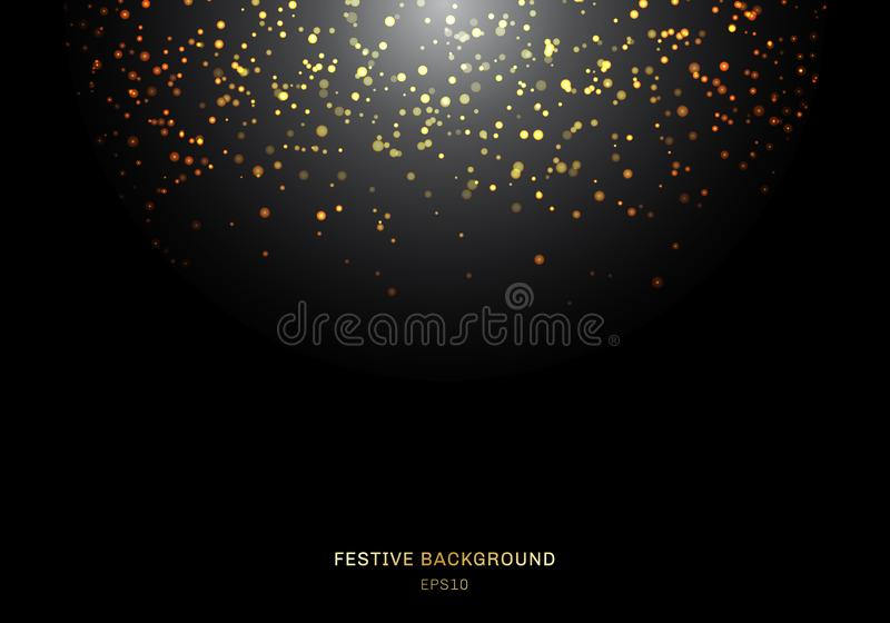 Abstract falling golden glitter lights texture on a black background with lighting. Magic gold dust and glare. Festive Christmas royalty free illustration